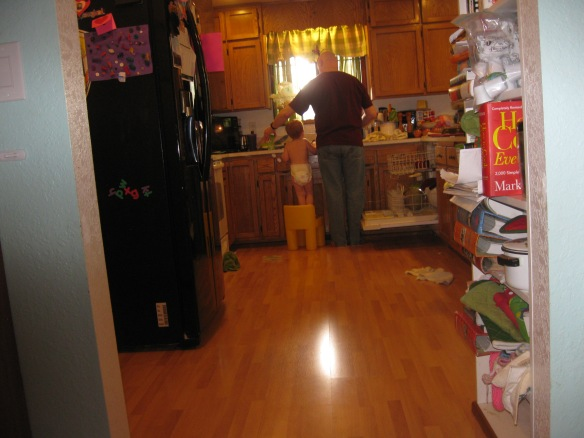 """""""Josh and Daddy Do Dishes"""" taken by Zack (age 4)"""